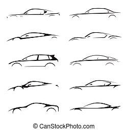 illustration., coche, silueta, supercar, vehículo, deportes, colección, vector, set., motor, concepto, sedán