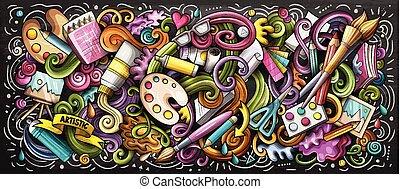 illustration., color, garabato, suministro, artista, artes visuales