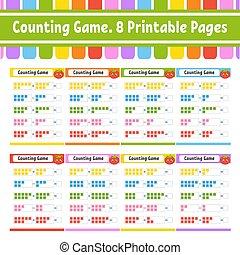 illustration., color, kids., aislado, page., revelado, character., divertido, actividad, caricatura, juego, subtraction., vector, style., tarea, children., educación, worksheet., adición