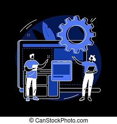 illustration., concepto, resumen, desarrollo, vector, sitio web