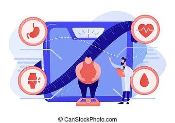 illustration., concepto, vector, problema, salud, obesidad