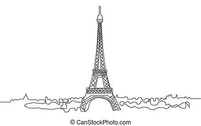illustration., continuo, dibujo, atracciones, torre, eiffel, parís, línea