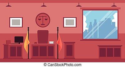 illustration., de madera, vacío, vector, interior, o, ensayo, muebles, plano, palacio de justicia