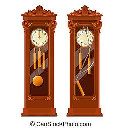 illustration., de madera, vector, fondo., antigüedad, reloj, aislado, primer plano, vidrio, blanco, caricatura, aduelo, roto