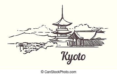 illustration., dibujado, kyoto, sketch., contorno, mano