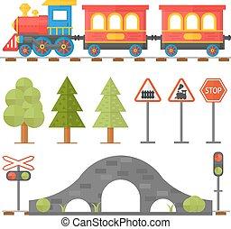 illustration., ferrocarril, auxiliar de vuelo, diseño, pasajero, estación, iconos, conjunto, tren de juguete, plano, concepto, ferrocarril