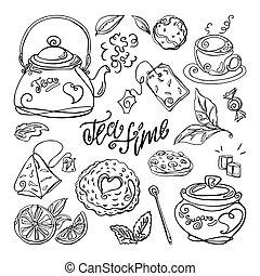 illustration., fondo., vector, mano, dibujado, aislado, conjunto, blanco, té