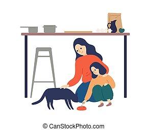 illustration., gasto, plano, cocina, niño, cuidado, enseñanza, white., toma, tiempo, feliz, vector, mujer, hija, lindo, mascota alimentándose, el gozar, madre, sobre, padre, gato, maternidad, aislado, niño, cuidado
