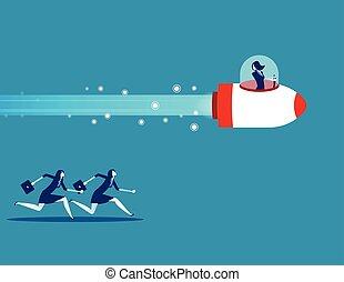 illustration., gente, vector, diseño, concepto, plano, style., competition., empresa / negocio