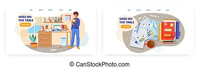 illustration., habitación, miradas, vector, escritorio, oficina, concepto, mesa., sucio, el suyo, estudiante, hombre, desordenado, desordenado, lío