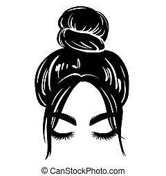 illustration., hermoso, hembra, pelo, vector, hairstyle., mujer, silhouette., desordenado, niña, bollo, dibujo