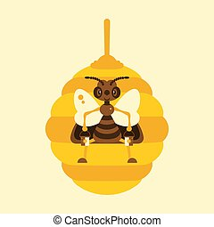 illustration., hive., abeja
