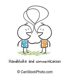 illustration., hombres, dos, socialize., sacudarir las manos