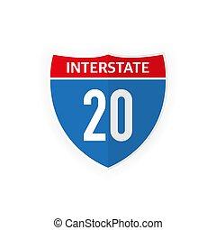 illustration., icono, blanco, aislado, carretera interestatal, camino, 20, fondo., vector, señal