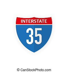 illustration., icono, blanco, aislado, carretera interestatal, camino, 35, fondo., vector, señal