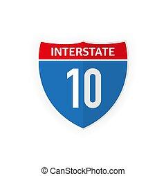 illustration., icono, blanco, aislado, carretera interestatal, camino, fondo., 10, vector, señal