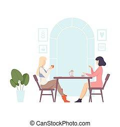 illustration., joven, tabla, cafe., dos, sentado, mujeres, vector