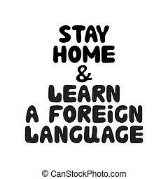 illustration., language., garabato, extranjero, burbuja, lettering., aislado, acción, aprender, hogar, dibujado, estancia, blanco, fondo., vector, lindo, mano