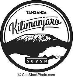 illustration., monte, higest, aventura, badge., kilimanjaro, al aire libre, tanzania, áfrica, volcán, tierra