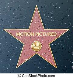 illustration., movimiento, vector, representar, estrella, clásico, acera, famoso, monumento, película de cámara, pictures., público, caminata, logro, fame., boulevard., hollywood