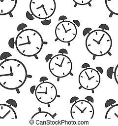 illustration., patrón, símbolo, empresa / negocio, vector, reloj, señal, icon., tiempo, plano de fondo, plano, seamless, alarma, pattern.