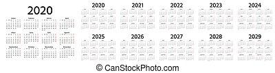 illustration., planner., año, calendar., vector, plantilla, 2020, español