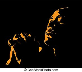 illustration., praying., silueta, backlight., hombre africano
