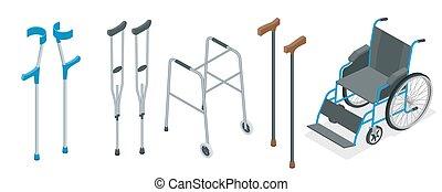 illustration., sílla de ruedas, concept., paseante, vector, cuidado, movilidad, muletas, crutches., salud, conjunto, bastón, isométrico, incluso, antebrazo, ayudas, cuadratura