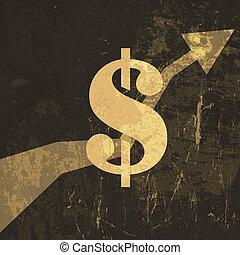 illustration., señal, dólar, arriba, vector, retro, crecer, ganancias