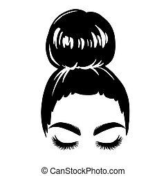 illustration., silhouette., bollo de pelo, desordenado, niña, vector, hembra, hairstyle., dibujo, mujer hermosa