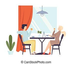 illustration., té, hombre, cafe., mujer, bebida, vector