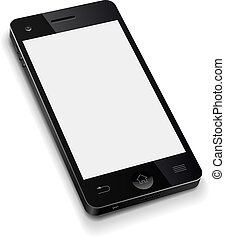 illustration., teléfono, móvil, pantalla, realista, vector, plantilla, blanco, blanco, 3d