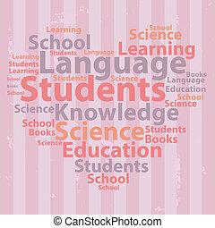 illustration., texto, concept., tipografía, vector, wordcloud., cloud., educación