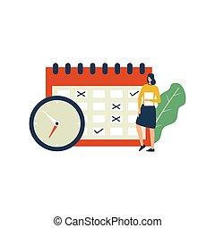 illustration., tiempo, vector, dirección, concepto