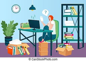 illustration., trabajando, archivos, amontonar, arriba, oficina, papeles, vector, carpetas, documentos, empresa / negocio, lugar de trabajo, order., mujer, desordenado