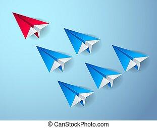 illustration., uno, moderno, frente, grupo, ellos, equipo, primero, avión, origami, visualizado, doblado, vuelo, 3d, vector, liderazgo, estilo, juguetes, concepto