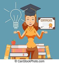 illustration., vector, certificado., estudiar, carrera, estudiante, graduación, mujer, graduado, educación, niña, oportunidades, diploma., caricatura, carácter, colegio, futuro, universidad
