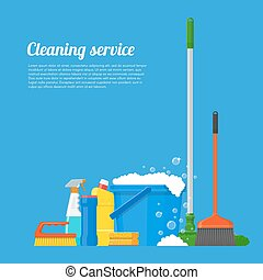 illustration., vector, compañía, herramientas, limpieza, servicio, diseño, casa, estilo, plano, concepto, cartel