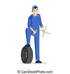 illustration., vector, coverall, automóvil, herramientas, plano, coche, automotor, mecánico, reparador, servicio, técnico, feliz, automóvil, character., factótum, caricatura, tenencia, encargado de mantenimiento, profesional