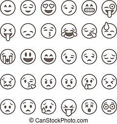 illustration., vector, emoticons, plano de fondo, aislado, blanco, conjunto, contorno, emoji