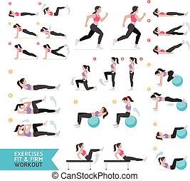 illustration., vector, entrenamiento aerobio, exercises., mujer, condición física