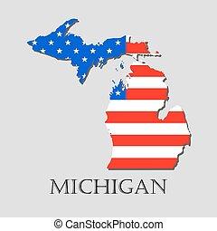 illustration., -, vector, michigan, norteamericano, mapa del estado, bandera