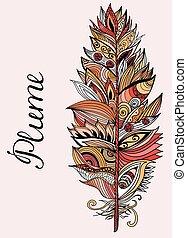 illustration., vector, pluma, color, lettering.