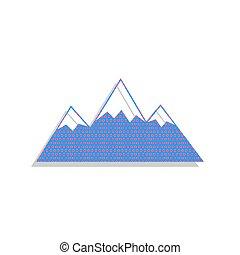 illustration., vector., señal, ciclamino, montaña, icono, neón, azul