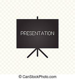 illustration., vector, signo., icon., presentación, pantalla, proyector
