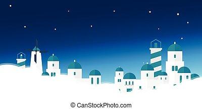 illustration., vector, skyline., acropolis., viaje, grecia, cartel