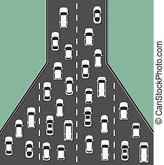 illustration., vista, cima, atasco, concepto, tráfico