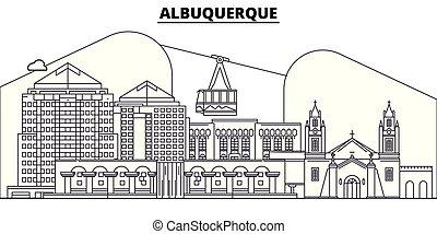 illustration., vistas, vector, estados, skyline., famoso, diseño, albuquerque, línea, señales, albuquerque, unido, plano, viaje, ciudad