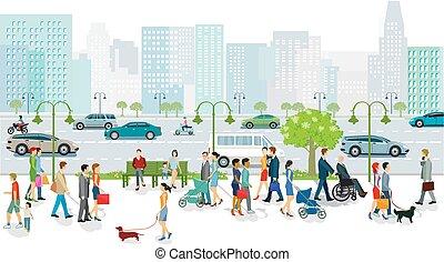 illustration.eps, tráfico, grande, camino, peatones, transporte, público, ciudad