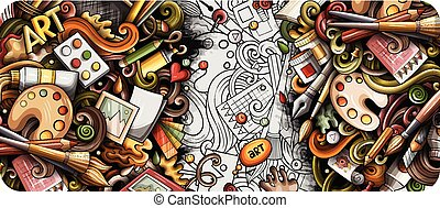 illustrations., banner., detallado, garabato, dibujado, artista, mano, caricatura